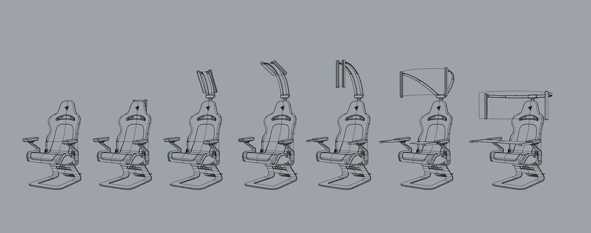 Sketch showing how the Project Brooklyn concept gaming chair display unfolds