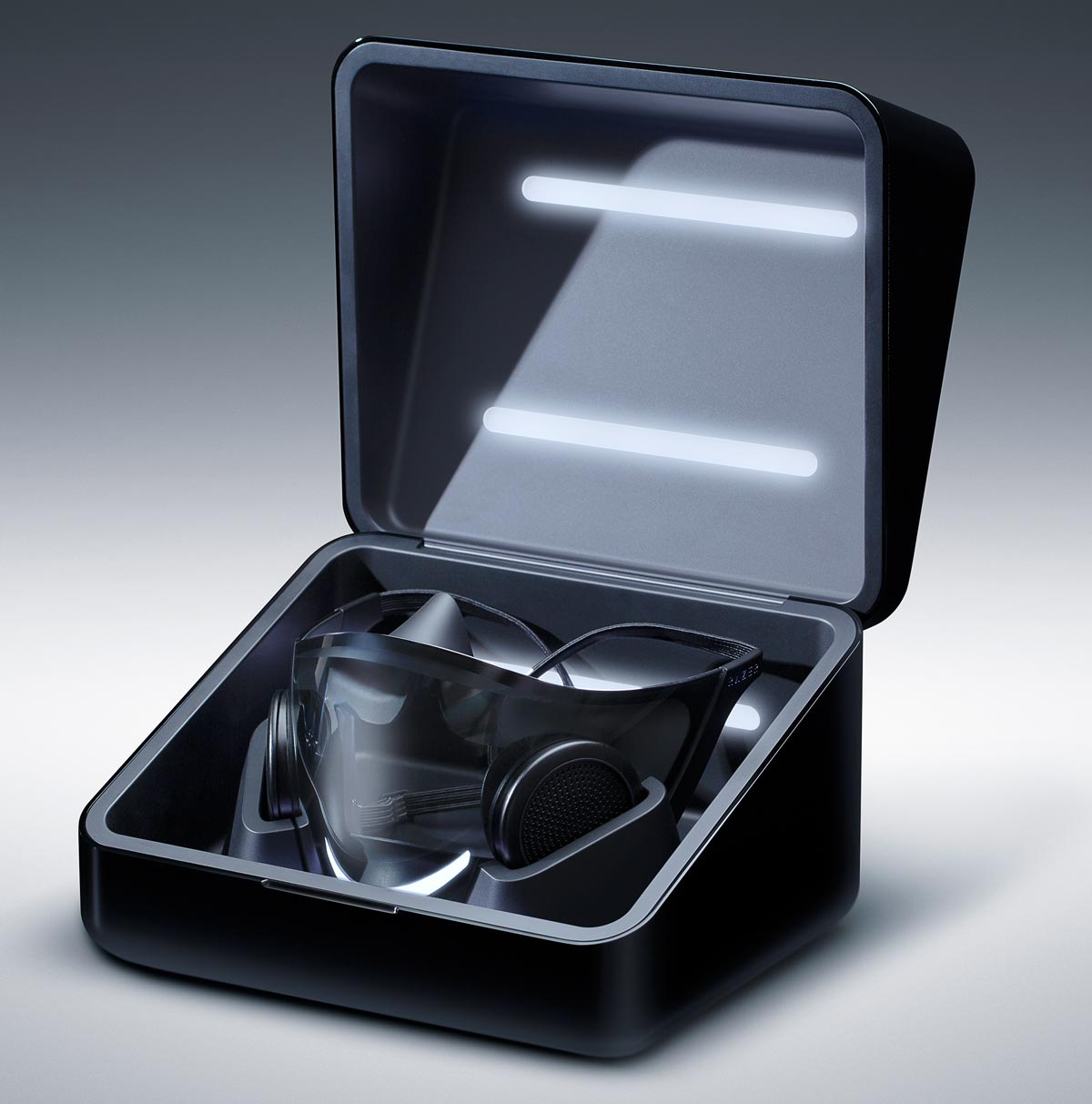 The Razer Project Hazel face mask in its charging/sanitizing case