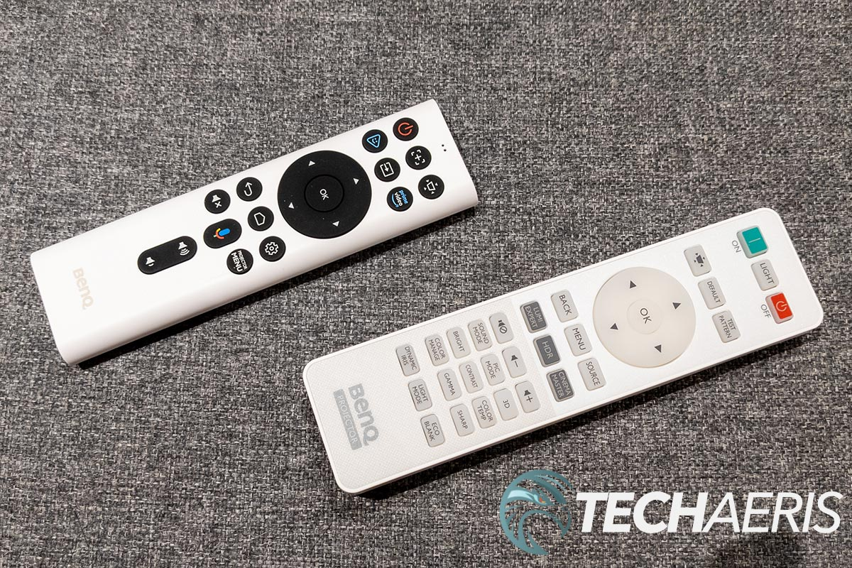 The BenQ TK850i 4K UHD projector with Android TV comes with two remotes