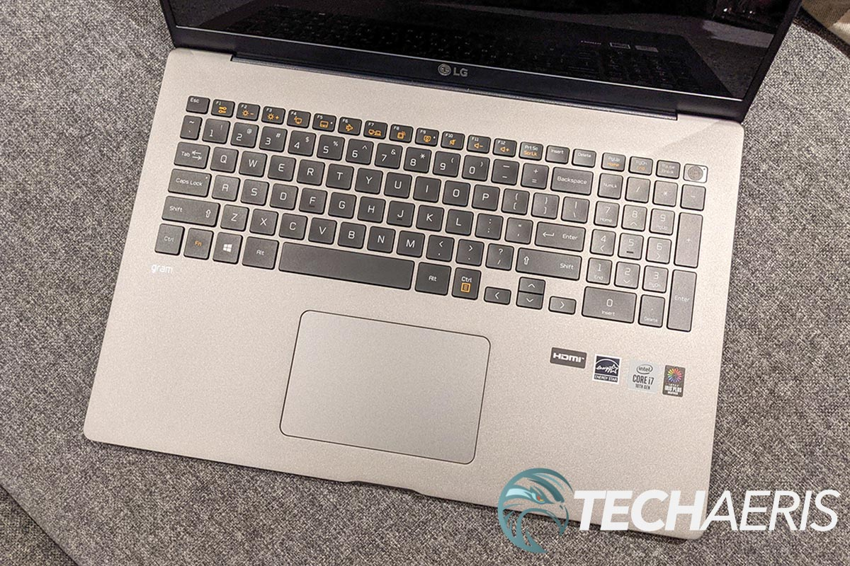 The keyboard on the LG gram for business 17-inch laptop