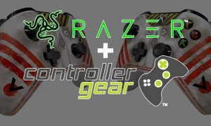 Razer and Controller Gear logos with Star Wars Squadron Xbox controller