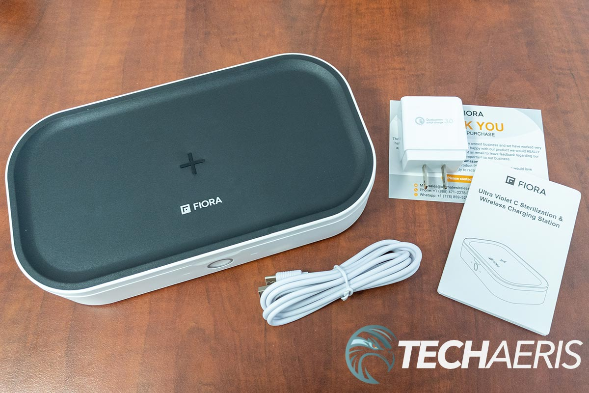 What's included with the Fiora UVC Sterilizer & Wireless Charging Station