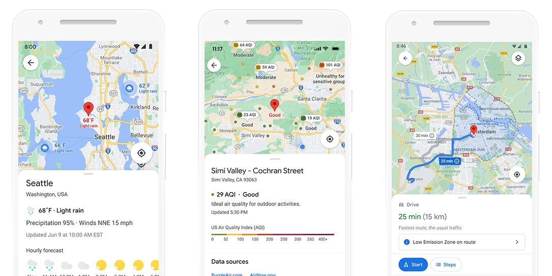 Google Maps weather, air quality, and emissions zone layers