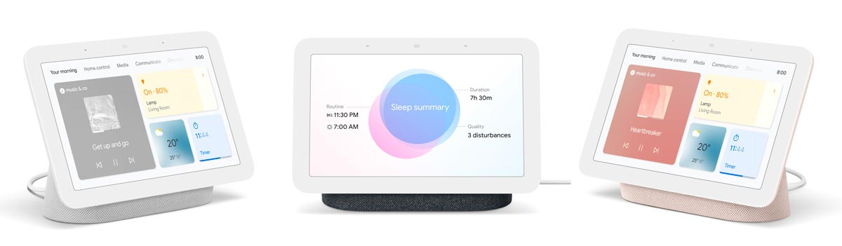 Three of the four colour variations the second-generation Nest Hub will be available in