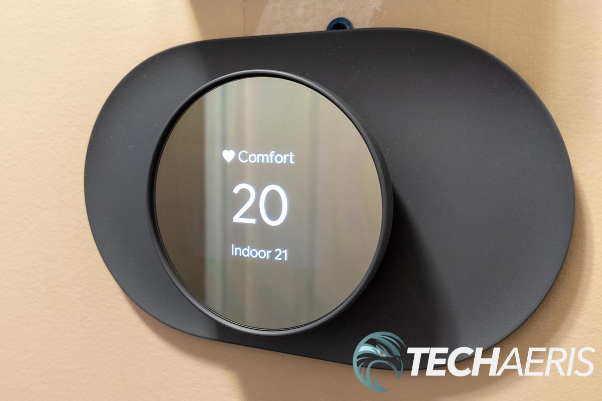 The Google Nest Thermostat displaying temperature (in °C)