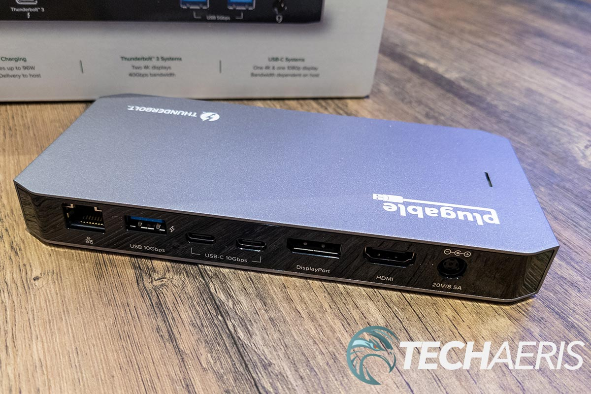 The back of the Plugable TBT3-UDC3 Thunderbolt 3 and USB-C Dual Display Dock with 96W Host Charging