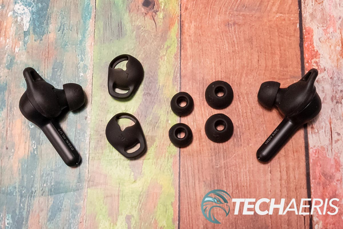 The Skullcandy Indy ANC true wireless earbuds include 3 ear gels and 2 stability ear gels for a proper seal and fit