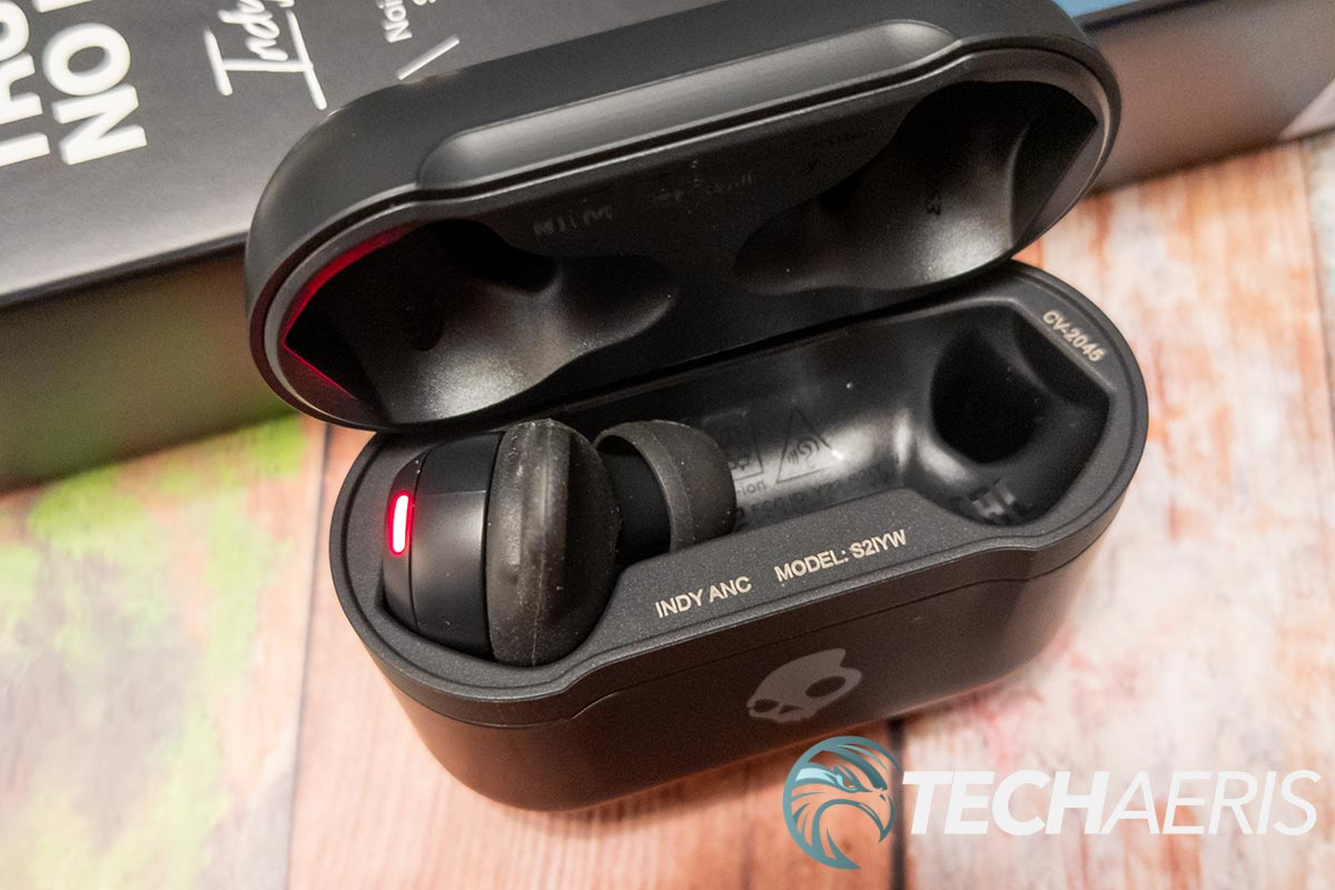 The Skullcandy Indy ANC true wireless earbuds inside the included charging case