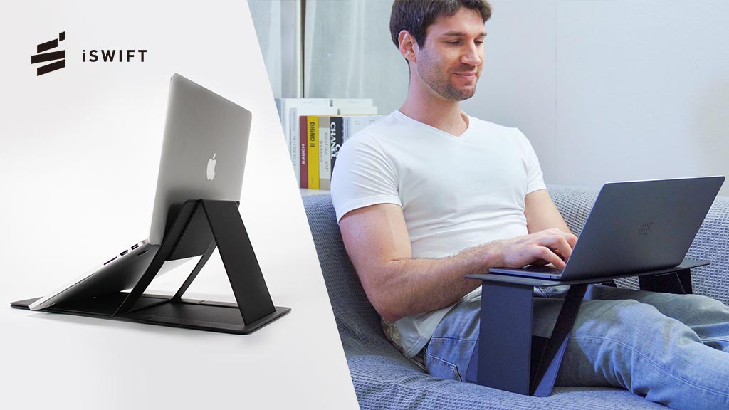The iSwift Pi portable laptop desk can be used in stand or desk modes