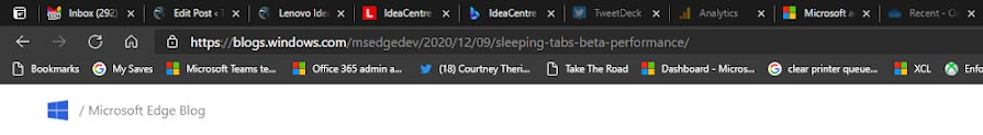 An example of greyed out sleeping tabs in Microsoft Edge
