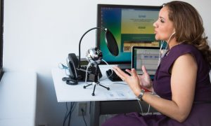 woman podcasting podcast