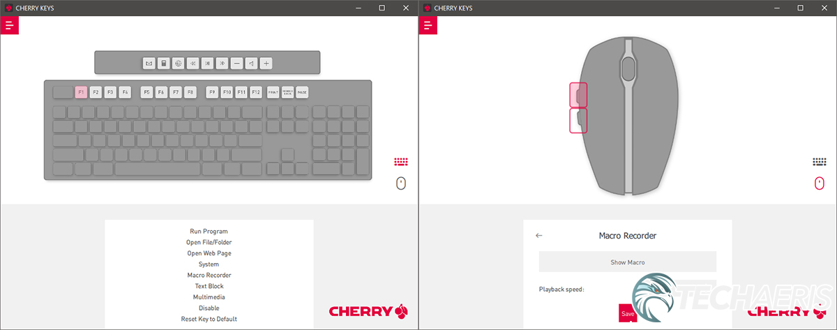 Screenshots of the CHERRY KEYS software