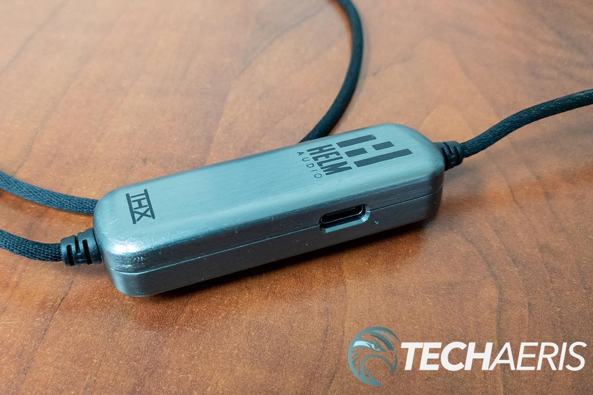 The charging port on the HELM DB12 AAAMP mobile headphone amplifier
