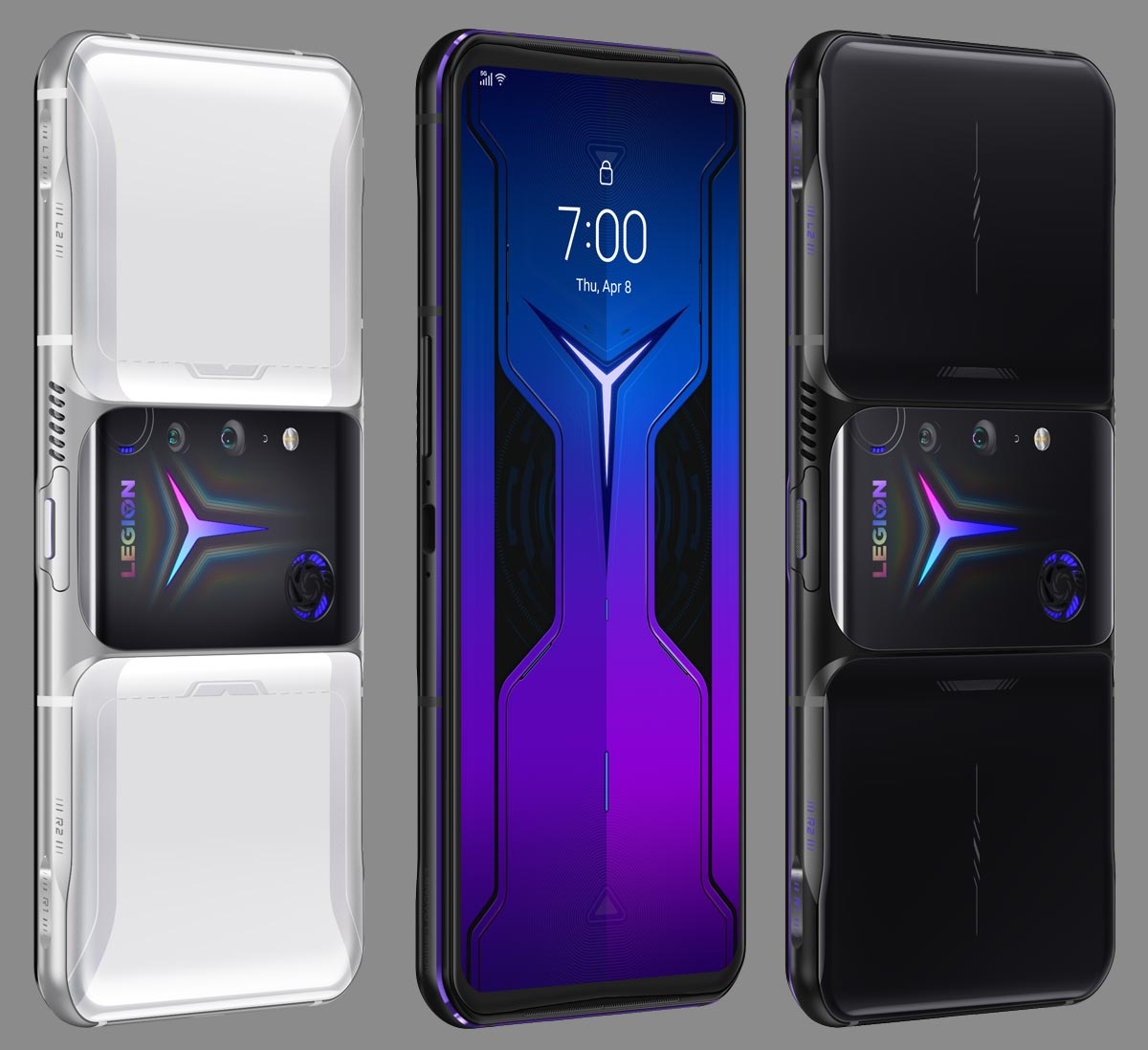 The Lenovo Legion Phone Duel 2 in Titanium White, front view, and Ultimate Black