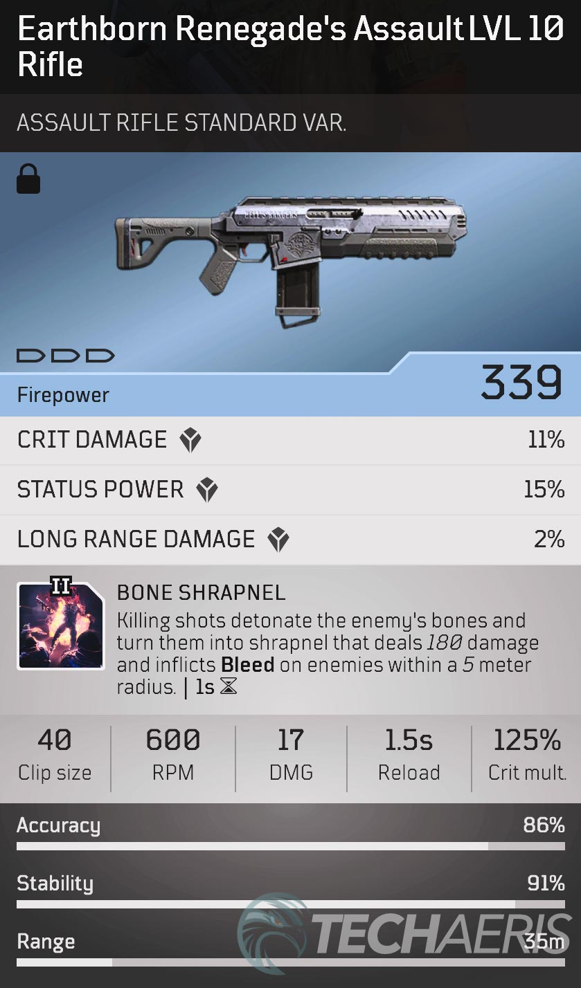 Outriders Earthborn Renegade's Assault Rifle