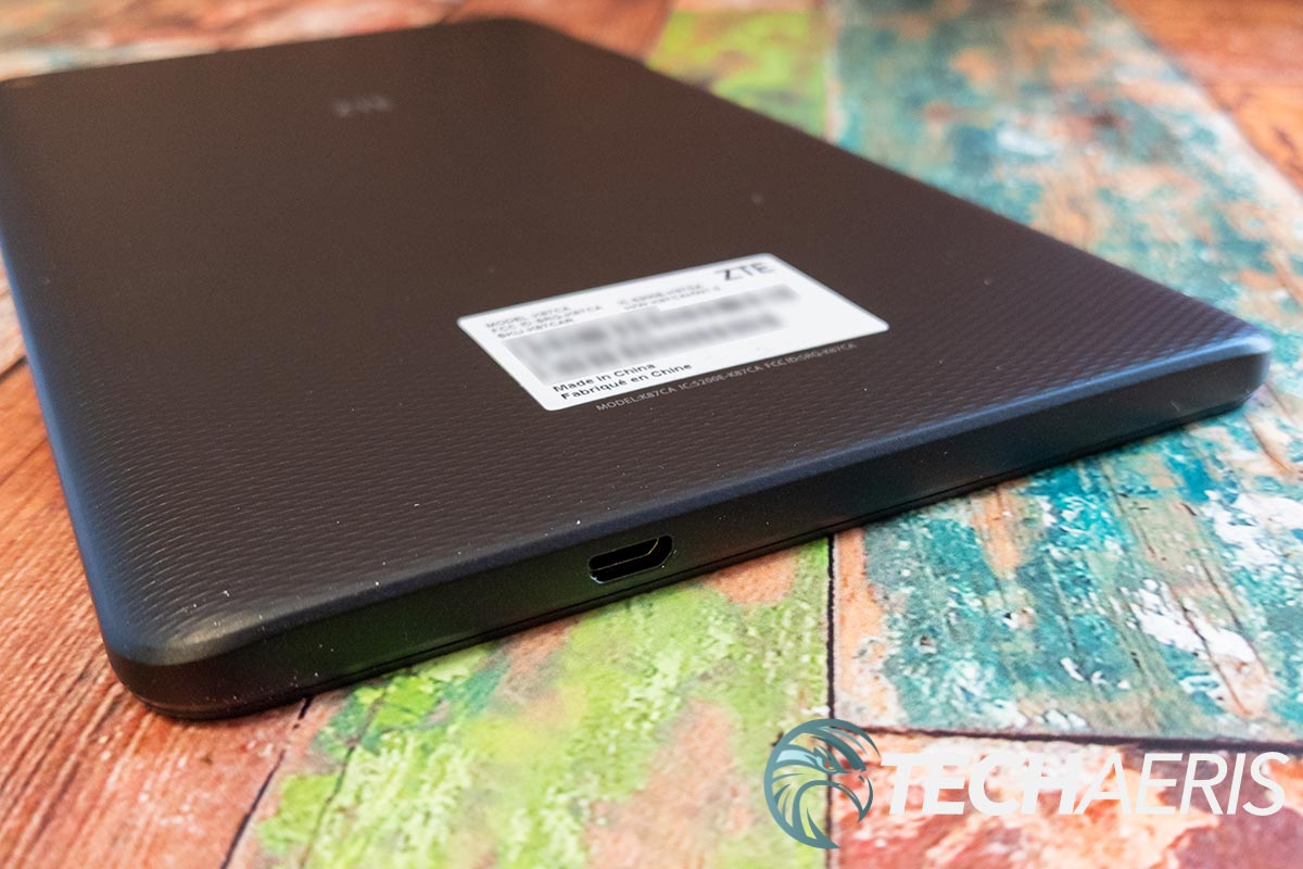 The micro-USB charging port on the bottom of the ZTE Grand X View 4 Android tablet