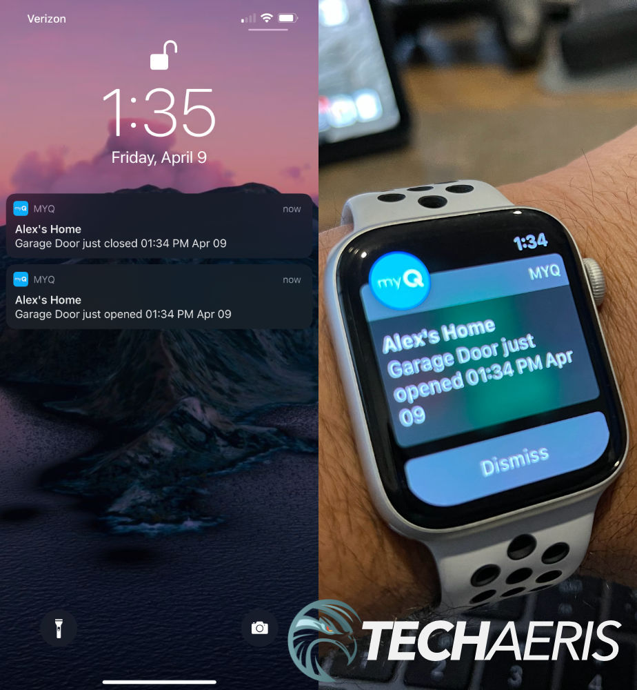 LiftMaster 85503 iOS and watchOS notifications