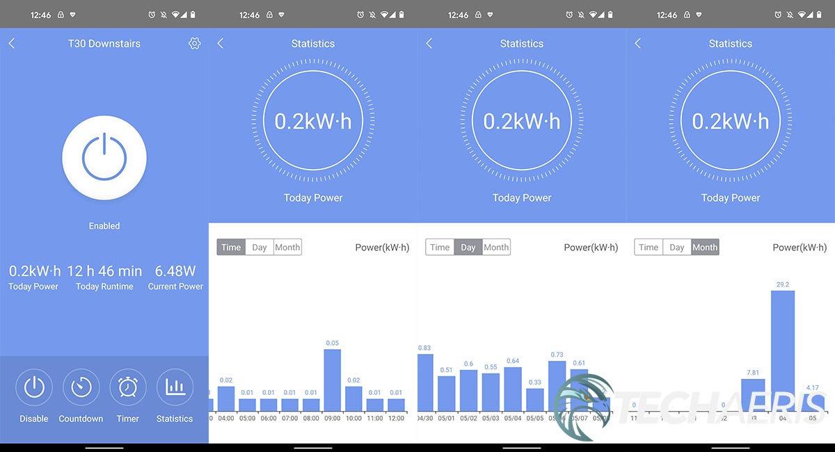 Screenshots from the EZVIZ app showing power consumption usage tracking on the T30-10B-US smart plug
