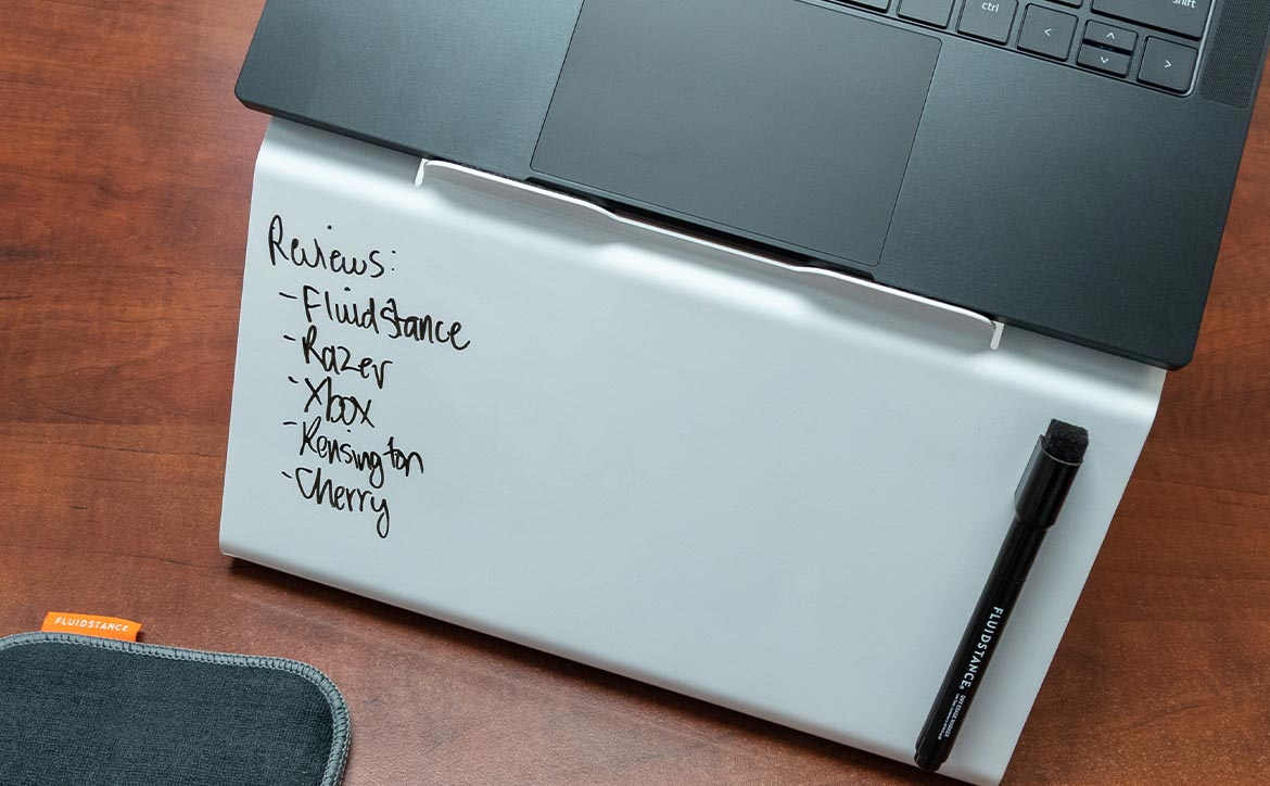 Fluidstance Lift laptop riser and whiteboard