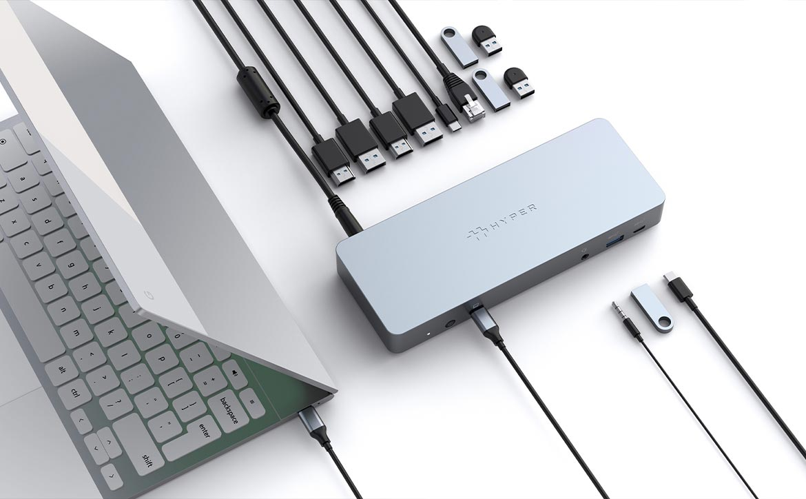 HYPER Chromebook USB-C hub and docking station with Chromebook and cables