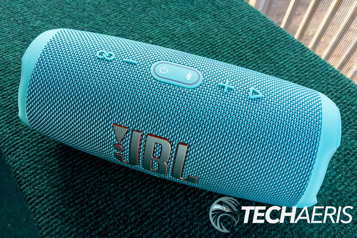 The buttons on the top of the JBL Charge 5 portable Bluetooth speaker