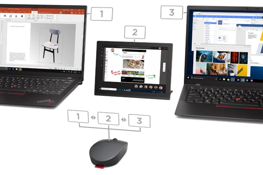 Lenovo Go Wireless Multi-Device Mouse showing connection to three different devices