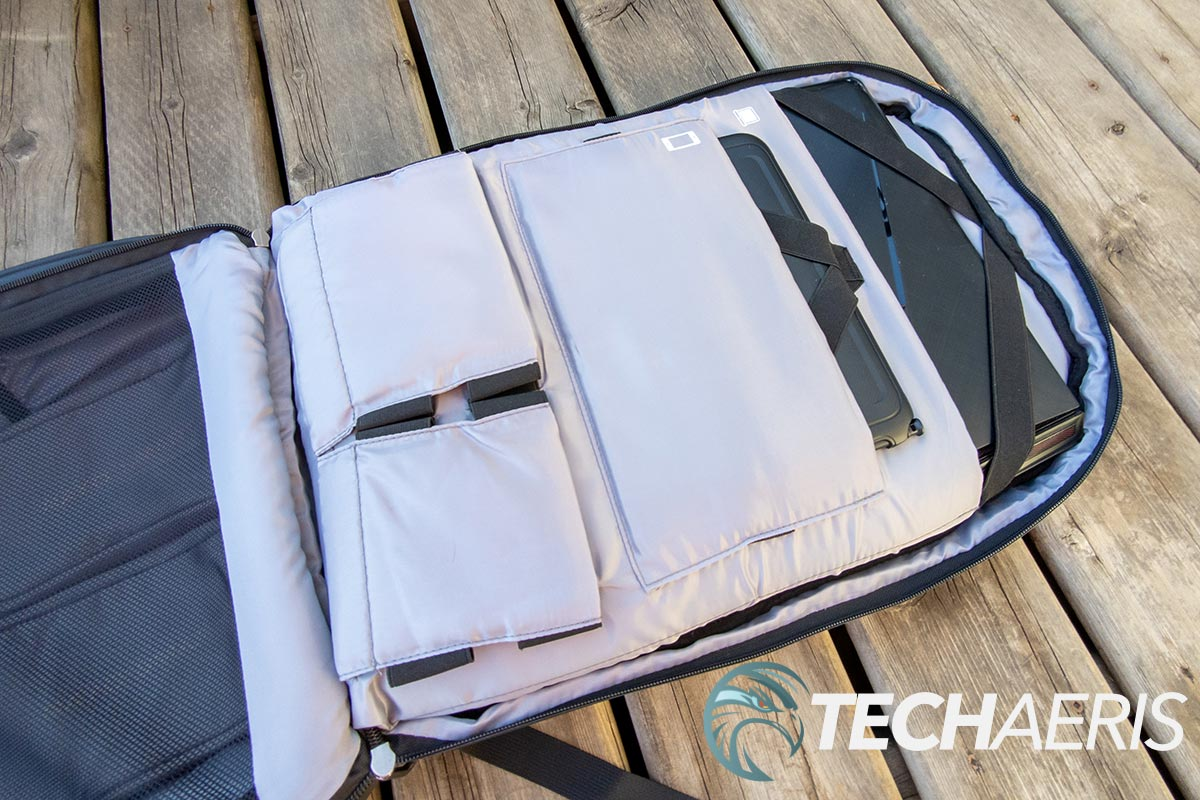 The main back compartment on the Nayo Smart Nayo Almighty Backpack with 17.3-inch laptop and tablet inside