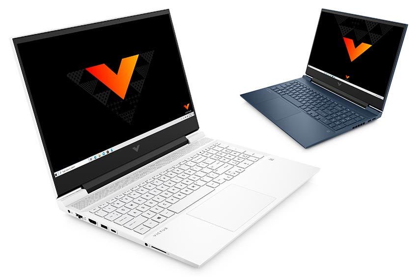The Victus by HP 16 gaming laptop in ceramic white and performance blue