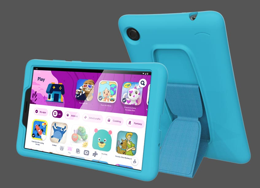 Lenovo Tab M7 with optional kid case front and back view
