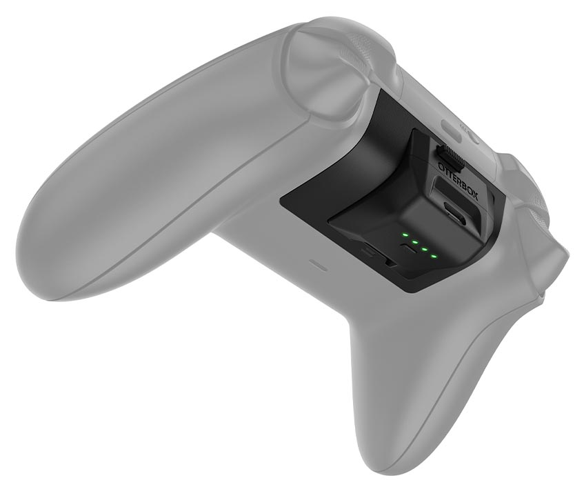 The OtterBox Power Swap Controller Batteries shown in an Xbox controller