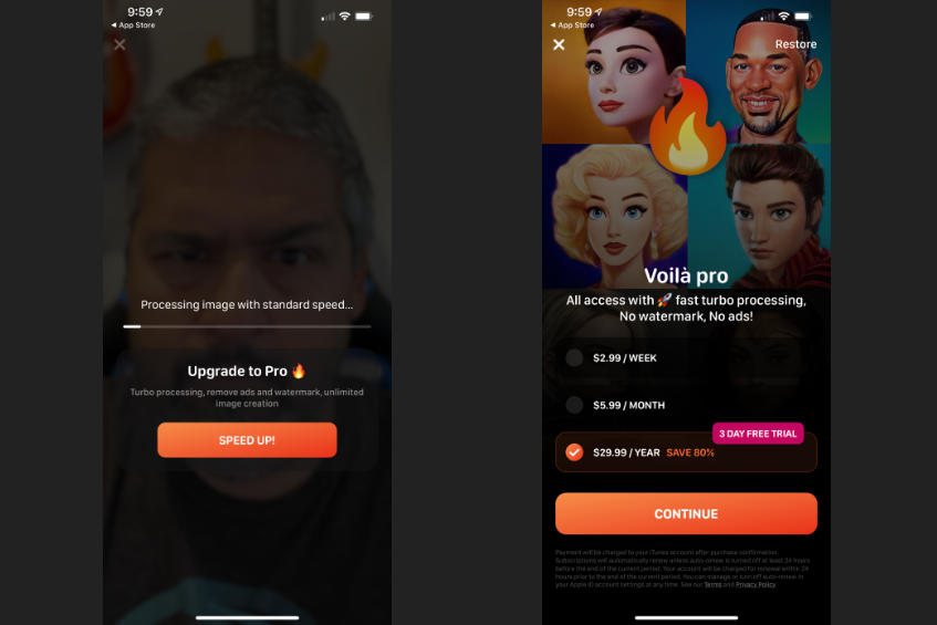 The Voila AI Artist app: Another time-waster with long ads and costly subscription