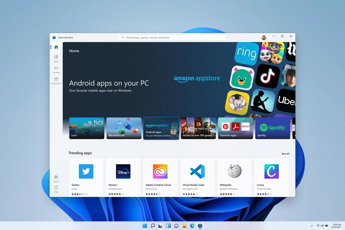 Windows 11 Microsoft Store screenshot showing Android apps in the Amazon appstore