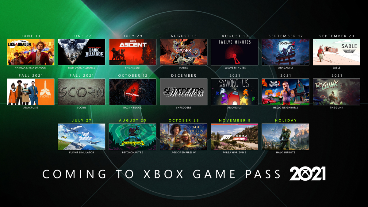 Xbox Game Pass 2021 release calendar with Xbox exclusives