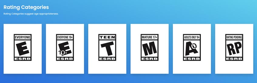 ESRB age rating categories for video games