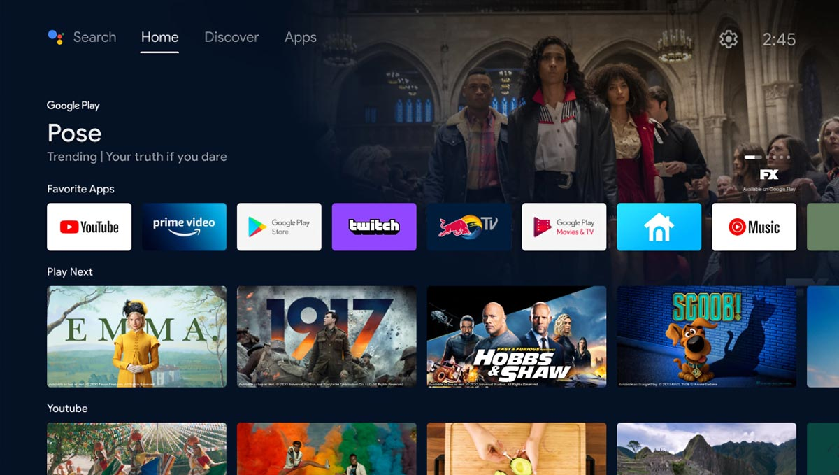 The latest Android TV interface screenshot (courtesy Google)