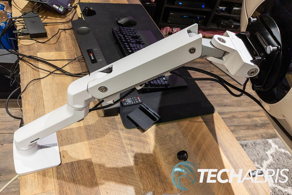The Ergotron HX Desk Monitor Arm with HD Pivot attached to the Samsung Odyssey G9 gaming monitor