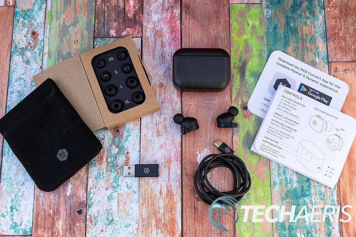 What's included with the Master & Dynamic MW08 true wireless earbuds