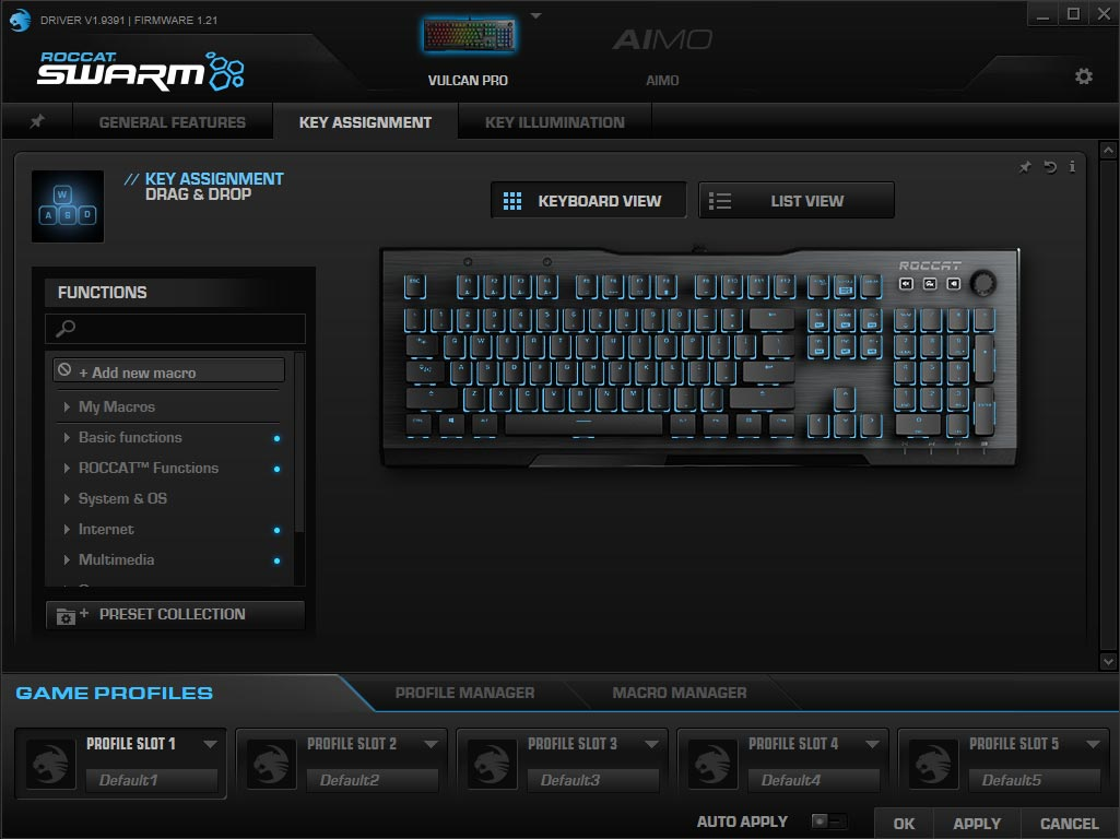 Screenshot of the current version of the ROCCAT Swarm Windows application