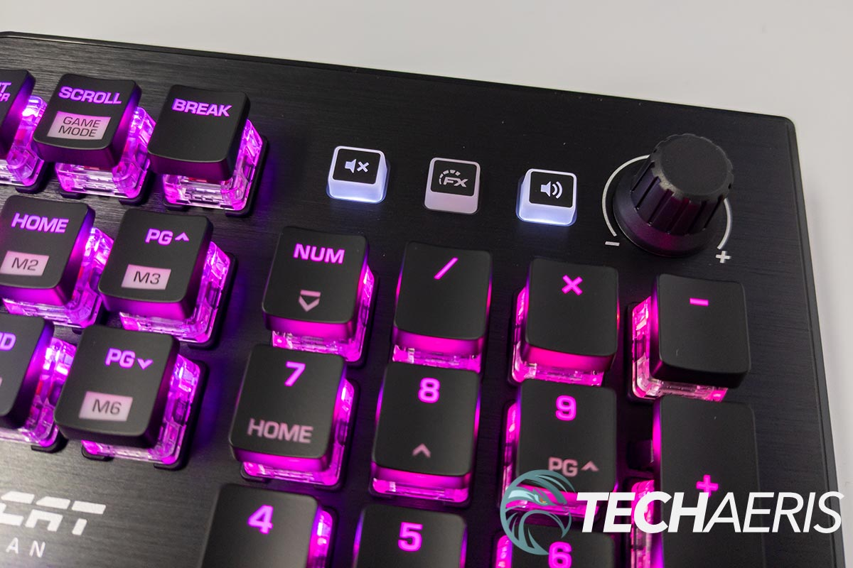 The media controls on the ROCCAT Vulcan Pro optical gaming keyboard