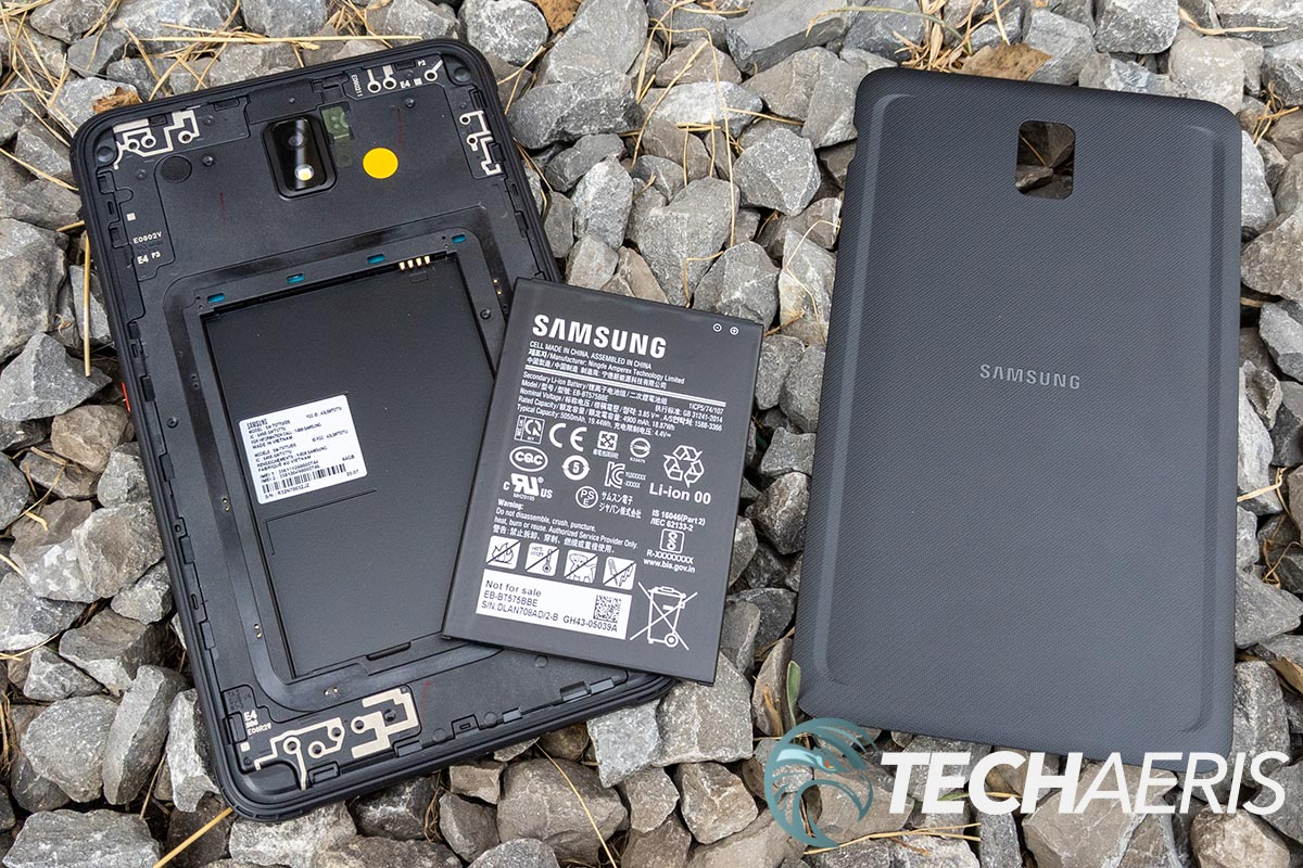 The Samsung Galaxy Tab Active3 Android tablet with the back and replaceable battery removed