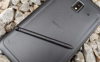 Samsung Galaxy Tab Active3 rugged Android tablet with S Pen on rocks