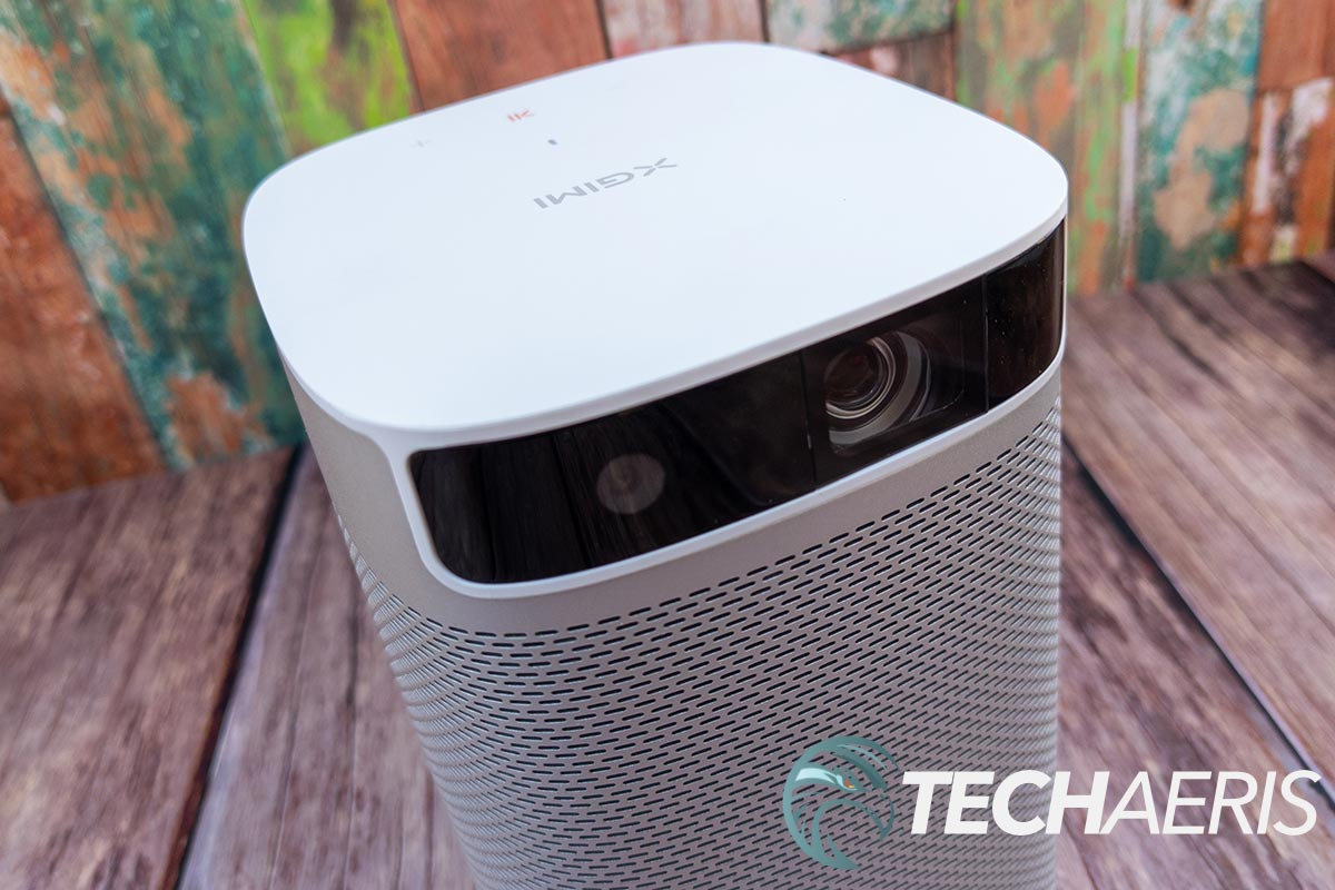 The projector and auto-focus lenses on the XGIMI MoGo Pro portable 1080p projector