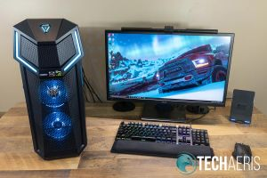 "The Acer Predator Orion 5000 gaming desktop is definitely a beast... 27"" monitor for comparison"