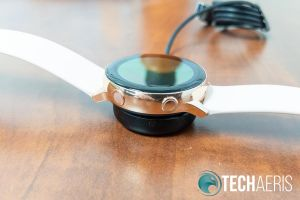 The Samsung Galaxy Watch Active charges wirelessly