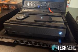The GAEMS Sentinel Pro running with an Xbox One X
