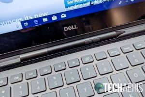 The hinge sports a storage slot for the Dell Active Pen on the 2019 Dell Inspiron 13 7000 2-in-1