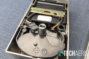 The inside of the inside assembly from the Schlage Encode Smart Wi-Fi Deadbolt