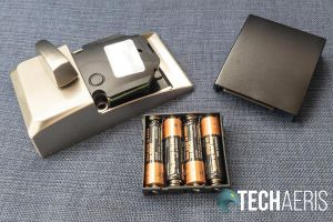The battery pack and cover from the Schlage Encode Smart Wi-Fi Deadbolt