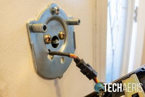 The cable connecting the touchscreen and inside assemblies on the Schlage Encode Smart Wi-Fi Deadbolt