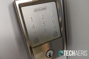 The touchscreen on he Schlage Encode Smart Wi-Fi Deadbolt also has backlighting for darker times